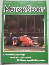 Motor Sport 10/1988 featuring Panther Kallista, Peugeot 405 T16, Chevrolet