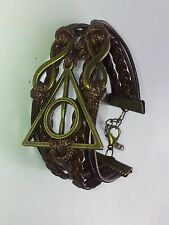 Leather Friendship bracelet deathly hallows. Magical/wizard/Hermione/Harry/Ron