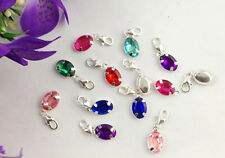 15PCS Mixed colours of rhinestone oval clip on charms #22661