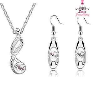 18 ct white gold GP Bridal set Jewellery Austrian crystal necklace earrings gift