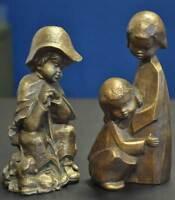 2x Achatit Naturstein Figuren Stoneware Handarbeit  Schäfer-Junge Kinder Mädchen
