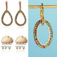 Gold Rhinestone Wedding Engagement Dangle Drop Earrings Women Lady Jewelry Gift