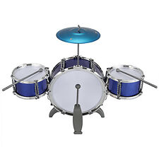 Children Kid Toy Drum Set 3 Drum with Cymbal Stool Sticks Musical Gift