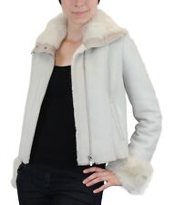 NEW! S/M GRAY & WHITE SHEARLING, SHEEPSKIN MOTORCYCLE JACKET Sued Mod Leather