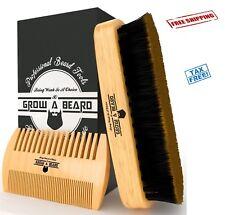 Bamboo Beard Brush Comb Set Men Grooming Kit Growth Styling Beard Mustache Care