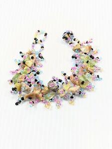 Artisan Multi Color Stone Glass Bead Pink Black Woven Cluster Bracelet 7.5 Inch