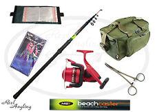 Sea Fishing Kit Telescopic Beach Rod Ocean Master Reel Rig Wallet Carryall bag