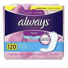 Always Thin Unscented Daily Liners Wrapped Regular Absorbency 120 Count