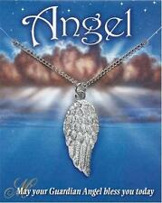 Angel Wing pendant and chain, polished English Pewter