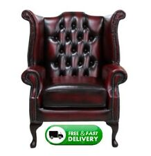 Brand New Chesterfield Queen Anne High Back Wing Chair Antique Oxblood Leather