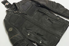 Harley Davidson Men Triple Vent STEALTH Distressed Leather Jacket 97033-15VM 2XL