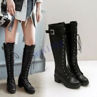 Vogue Womens Knee High Boots Lace Up Chunky Heels Buckle Platform Leather