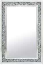 Rettangolo Grande Gatsby Argento Specchio Parete diamante cristalli bordatura 80cm x 120cm