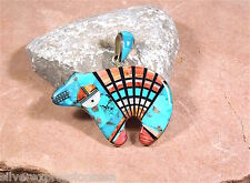 925 Silver Santafe Style Multi Stone,Turquoise, Spiny Oyster Inlay Bear Pendant