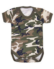 Camouflage baby grow, camo baby vest bodysuit, 0-3, 3-6, 6-12, 12-18 mths, Army