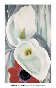 Calla Lilies with Red Anemone 1928 by Georgia O'Keeffe Art Print Poster 18x28