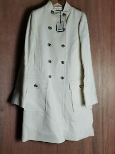 Jaeger London Wool Ivory Long Trench Coat Size 12 New Double Breasted RRP £499.