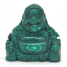 "Malachite Turquoise Quartz Crystal Laughing Maitreya Buddha Figurine Statue 1.4"""