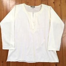 Subtle Luxury Floral Embroidered Tunic Ivory Cotton Peasant Blouse Top M / L $98