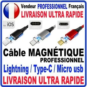 CABLE MAGNETIQUE USB CHARGEUR  ANDROID TYPE C MICRO USB  IPHONE RÉSISTANT 1M
