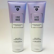 2 Victoria's Secret PINK Love Haze Body Lotion 8 oz Rainkissed Petals Airy Musk
