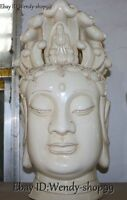 """20"""" China Dehua White Porcelain Kwan-yin Guanyin Quan Guan Yin Head Bust Statue"""