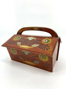 Primitive Folk Art Tole Painted Hand Made Wood Sewing Knit Box w/ Handle