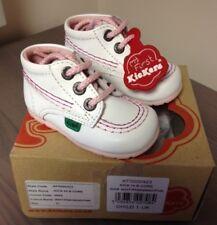 Kickers Kick Hi Blanc W rose couture bébé Chaussures UK 1 neuf Rare