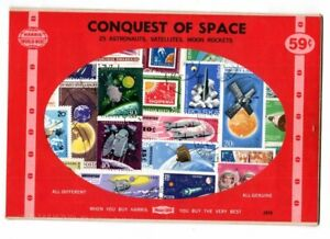 25 vintage worldwide Astronaut, Satellites & Moon Rockets Space Stamps packet