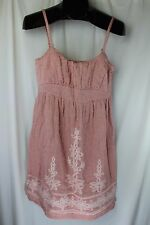New Esley Dress Light Red with Pink Embroidery Size S Modcloth Sundress Straps
