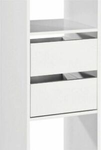 Basix White Twin Interior Drawer Pack of 2 Drawers for Sliding Wardrobe Doors