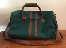 Vintage - Polo Ralph Lauren - Travel Duffle Bag - Green/Brown Leather Trim