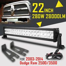 "22"" 280W CREE LED Work Light Bar+Mount Bracket For Dodge Ram 2500/3500 03-14 24"""