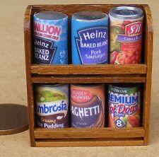 1:12 SCALA 6 assortiti Vuoti Barattoli in uno scaffale di legno Casa delle Bambole Accessorio alimentare STS