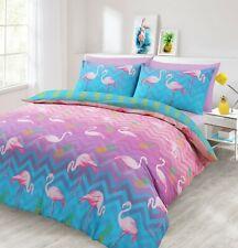 Reversible Pink Blue Flamingo Pineapple Print Duvet Cover Pillowcase Bedding Set