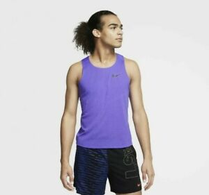 New Nike Men's AeroSwift Running Singlet Tank Top Psychic Purple Size Small $70+