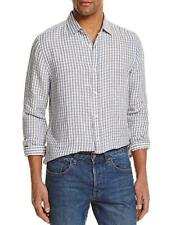 New The Mens Store Bloomingdales Gray White Check 100% Linen Button Down Shirt L