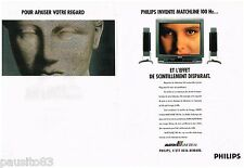 PUBLICITE ADVERTISING 095  1991  PHILIPS  téléviseur MATCHLINE 100HZ ( 2 pages)