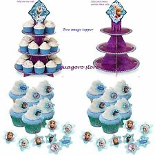 Disney Frozen Cupcake Stand +  24 RINGS Elsa Olaf Birthday Party Favors Prizes