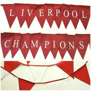 Liverpool / champions printed bunting - plain red, red and white