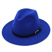 Fashion Unisex Wool Blend Panama Hats Wide Brim Fedora Trilby Caps Leather Band