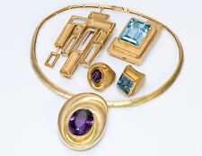 Burle Marx 18K Yellow Gold Aquamarine Amethyst Topaz Necklace Brooch Ring Set