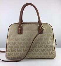 $398 MICHAEL KORS Large Camel MK Signature Jacquard Leather Satchel Bag Tote