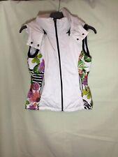 Sportwear Casual Ladies White Floral Poliester Jacket Vest S (352)