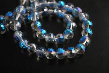 50pcs Half Metal Blue Glass Crystal 96Faceted Round Beads 8mm Spacer Findings