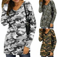 Women Camouflage Ladies Long Sleeve Army Casual Loose Blouse T-shirt Tops Tunic