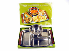 Vintage Unisonic Stainless Steel 4 Section TV Dinner Snack Set Soup Bowl Unused