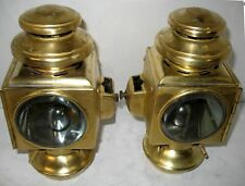 PAIR OF ALL BRASS  2 TIER E&J SIDE LAMPS 1909-12 MODEL T FORD HUPMOBILE STANLEY