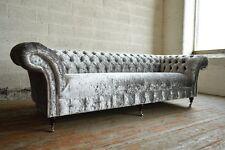 Modern Handmade Silver Crushed Velvet Fabric Chesterfield Sofa 4 Seater