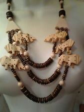 Large Wood Bead Lion Tribal Graduated Necklace